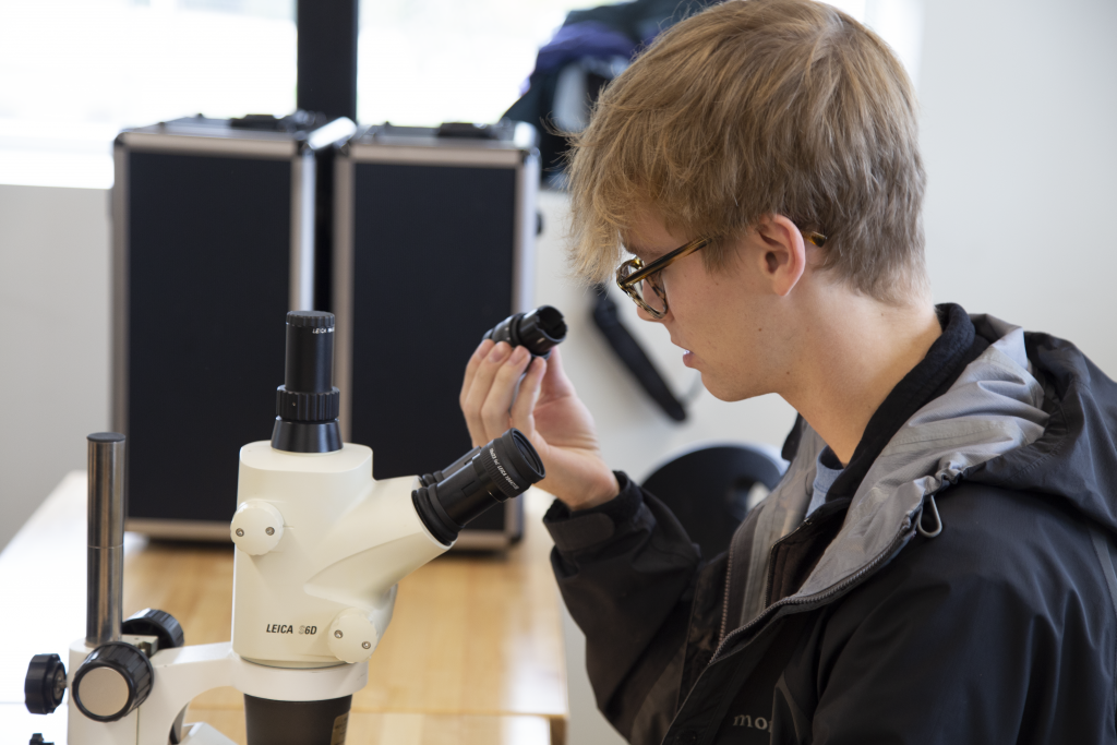 watershed coordinator looking into microscope
