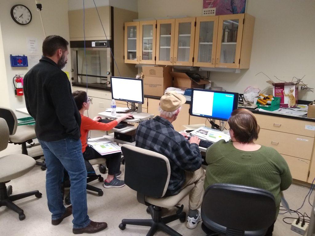 Cumberland Stream Team members uploading their data to the Chesapeake Monitoring Cooperative Database.