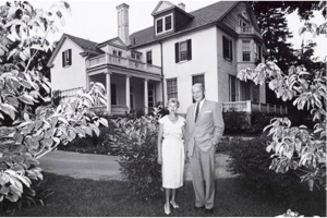 President Howard Rubendall (Class of 1931) with wife Carolyn​ on the northeast lawn of the newly renovated president's house (circa 1961).