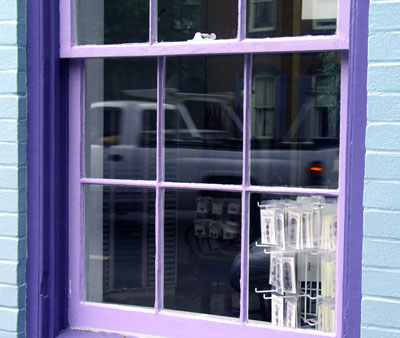 I took this picture of a window on High Street and then altered the hue and saturation to bring out the brighter colors
