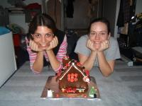 Caroline and I with our Gingerbread House