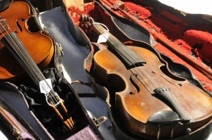 Violins at the 2011 Bluegrass on the Grass Festival.