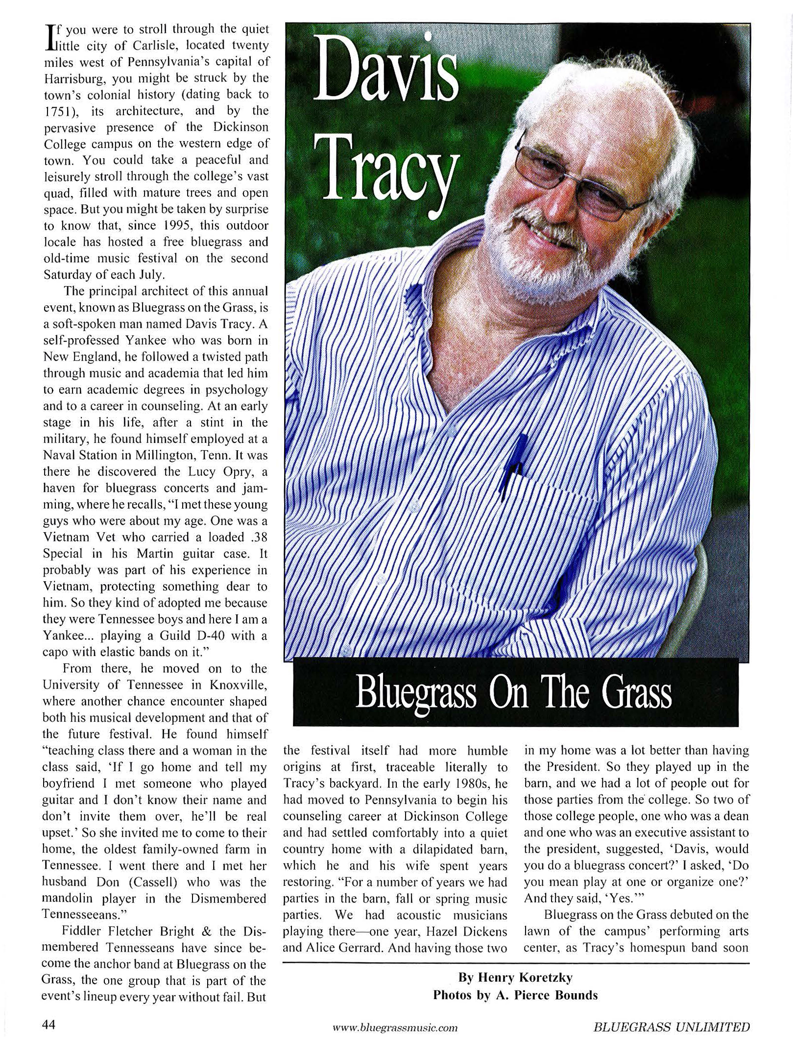 Bluegrass Unlimited - Bluegrass on the Grass - January 2013 - page 1