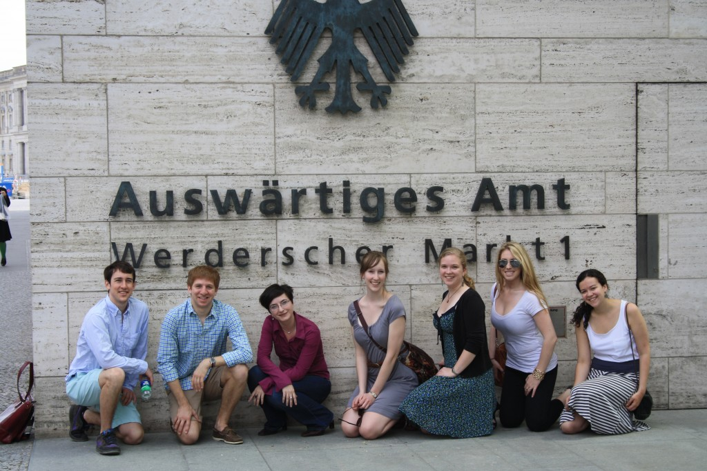 John G., John P., Janine Ludwig, Gwynnie, Verena, Stephanie, Emily (from left to right) in front of the German State Department