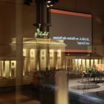Look from the Academy of the Arts at the Brandenburg Gate with projected title from the last panel on Sunday