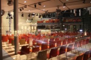 Plenary room at the Academy of the Arts East Pariser Platz with mirroring Brandenburg Gate