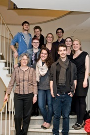President Roseman with current Dickinson-in-Bremen students Ezra, Katie, Cassie, George, Adrienne, Madison, Santiago (from top left to down right) as well as Academic Director Ludwig and Program Coordinator Mertz (far right, 3rd and 2nd row). © Harald Rehling, Uni Bremen