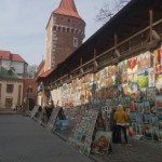 Art exhibition along the city wall of Kraków.