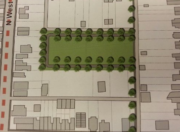 Plans for development, Heberlig Palmer Park. Image found at West Side Neighbors blog.