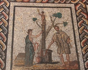 A Roman mosaic showing offerings at a grave. Source: http://goo.gl/TMGsWU