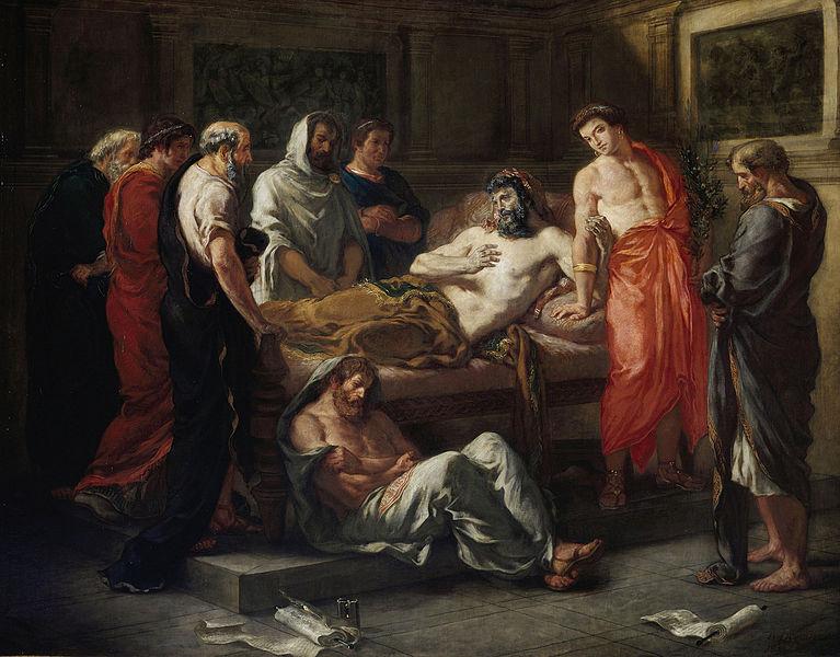 Last Words of the Emperor Marcus Aurelius. Eugène Delacroix, 1844. Musée des Beaux-Arts, Lyon. Public Domain. {{PD-1996}}