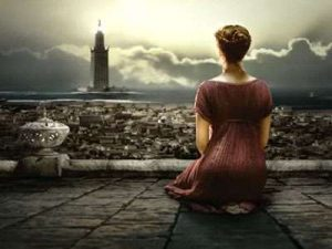 Screenshot of Hypatia looking out over the city.
