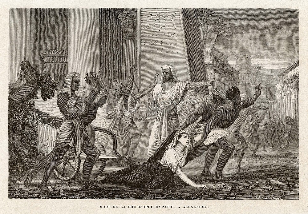"""Death of the philosopher Hypatia, in Alexandria,"" by Louis Figuier. Published in Vies des savants illustres, depuis l'antiquité jusqu'au dix-neuvième siècle, 1866. Public Domain {{PD-1996}}"