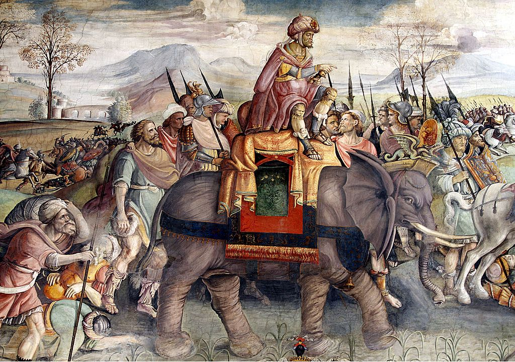 Detail from fresco Hannibal Crossing the Alps. Attributed to Jacopo Ripanda, c. 1510. Palazzo del Campidoglio (Capitoline Museum), Rome. Photograph © José Luiz Bernardes Ribeiro / CC BY-SA 4.0 via Wikimedia Commons.