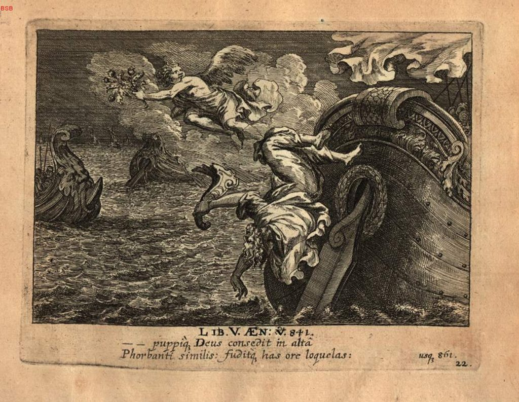 Palinurus falls from the stern of a ship into the sea, the God of Sleep flies away with a branch in his hand. Engraving from a German children's picture-book version of the Aeneid by G. J. Lang and G. C. Eimmart, 1688.
