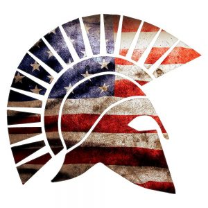 Spartan helmet in red white and blue, from stickerlady.com
