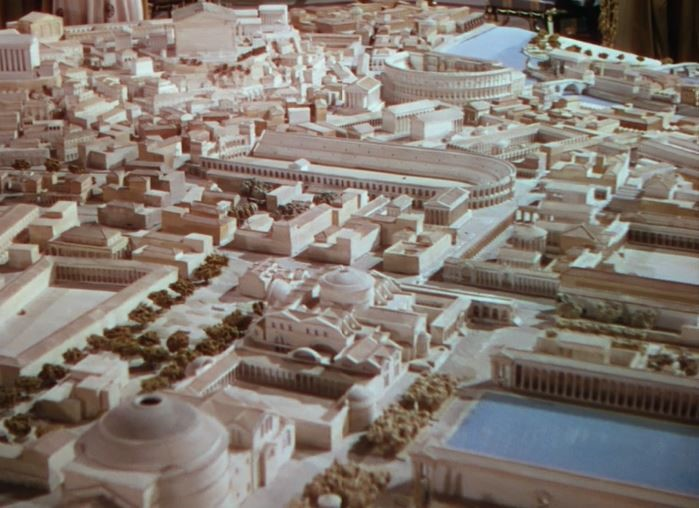 Screenshot: Nero's sprawling replica of Rome (33:46).