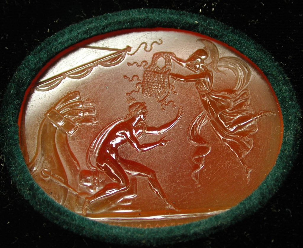Intaglio: Minerva throwing her aegis over Achilles early 19th century. Source: Metropolitan Museum