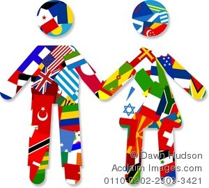 world flag travelling couple holding hands