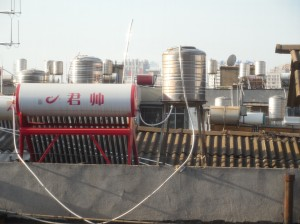 Solar water heaters for home use are ubiquitous in southwestern China including the most rural areas