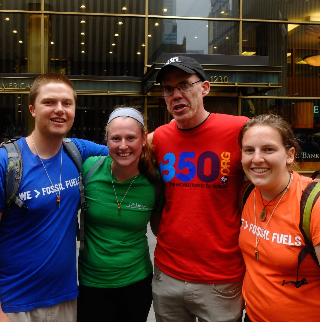 Dickinson students found Bill McKibben of 350.org on the streets!