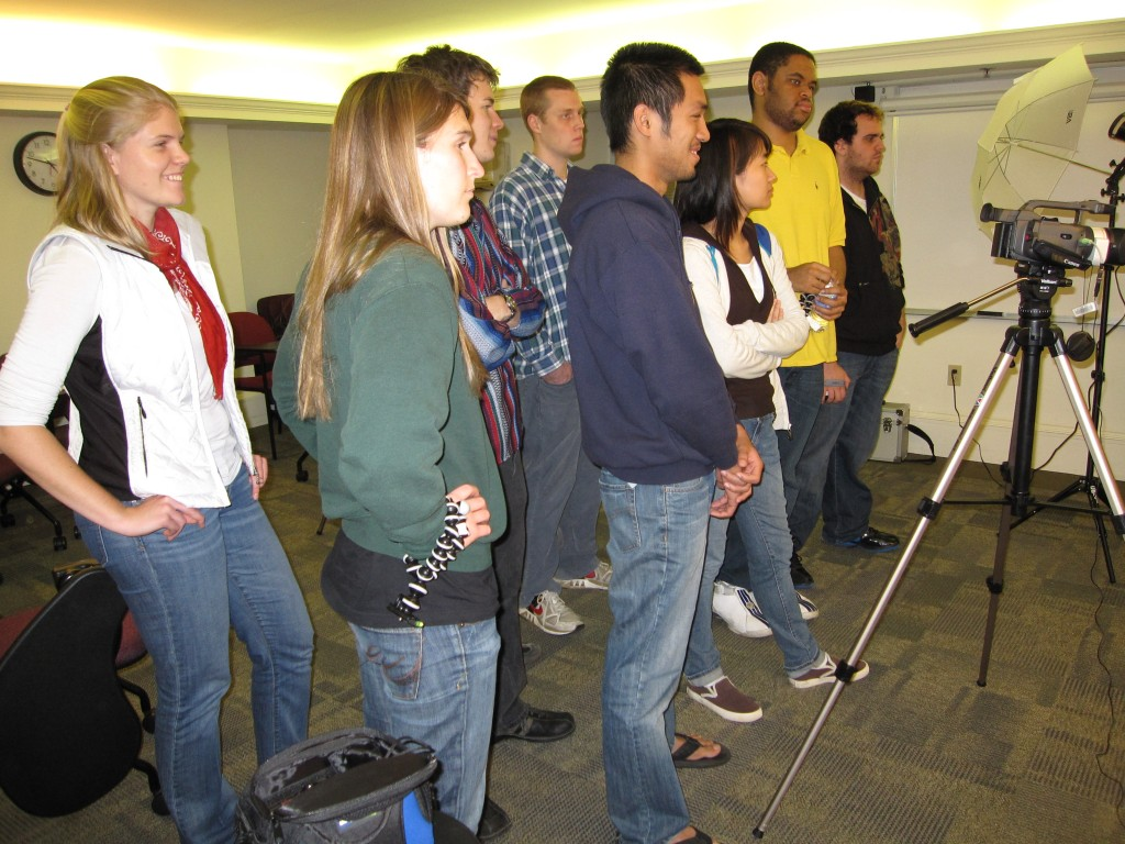 Students from the K2C research team receive video equipment training at Dickinson College, November 2009