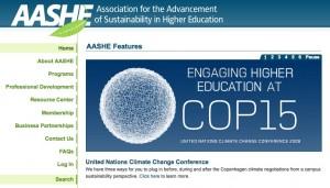 AASHE Homepage December 8, 2009
