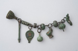 Bronze Roman necklace fragment with crepundia from the Johns Hopkins Archaeological Museum