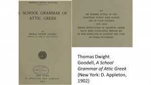 Thomas Dwight Goodell, A School Grammar of Attic Greek (New York: D. Appleton, 1902)