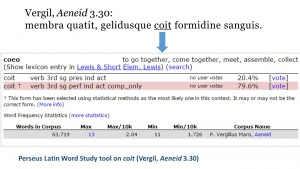 Perseus Latin Word Study tool on coit (Vergil, Aeneid 3.30)