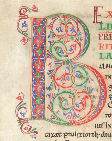 "The decorated initial B (""Britannia"") at the head of Liber 1 Caput 1 of Bede's Historia Ecclesiastica"