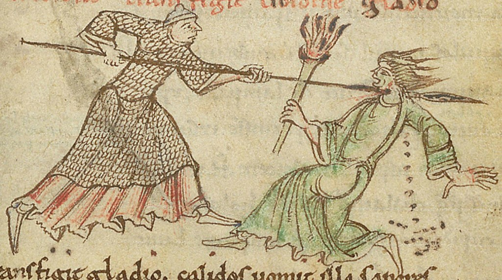 Chasity Pierces Lust, illustration from a manuscript of the Psychomachia, British Library. Cotton MS Titus D XVI, folio 7r St Albans, England, 1120AD.