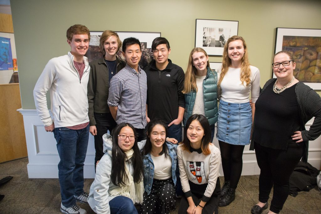The Concord Academy Latin-Mandarin Project team. Photo (by Rebecca Lindegren, use only with permission): Top row from left: Ben Zide, Tenzin Rosson, Ken Lin (林鸿燊), Michael Qiu (邱阳), Anna Dibble, Lysie Jones, Elizabeth Penland. Bottom row from left: Nora Zhou (周安琪), Helen Wu (吴颖怡), Rebecca Yang (杨若祺)