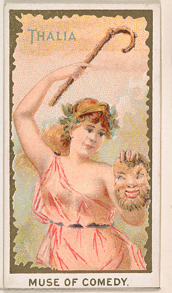 Scantily clad young woman holding theatrical mask.