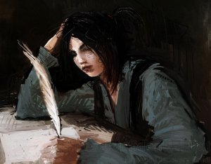 young woman holding quill pen