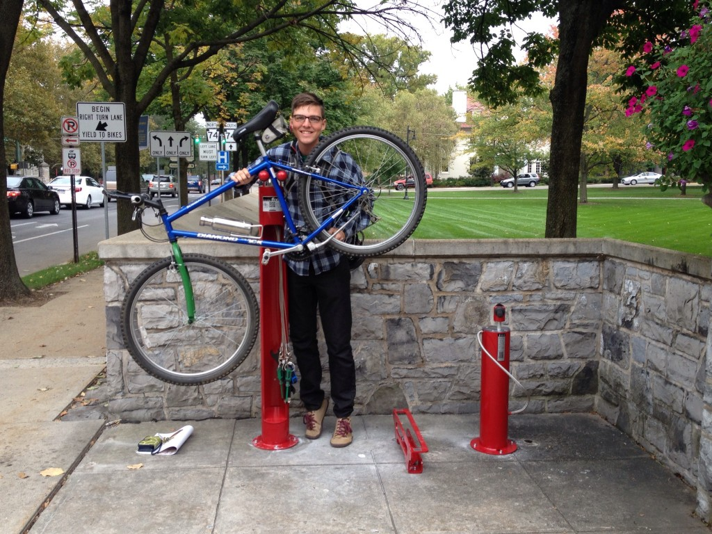 Bike repair stand and pump