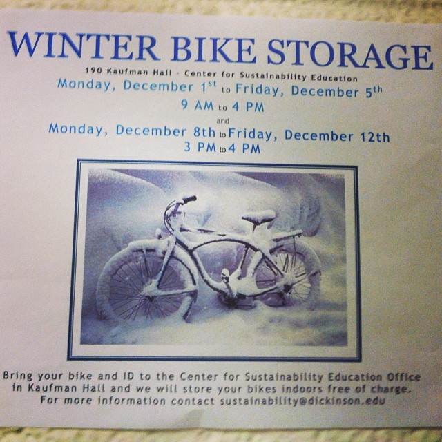 Today is the last day for winter bike storage. Come by from 3-4 in Kaufman. #dsonhbar #dickinsoncollege