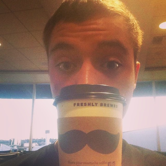 Selfie - our volunteers are drawn to moustaches; that's what happens when you work in a place called the Handlebar! Drew found one in the airport! #dsonphotos #dsonbikes