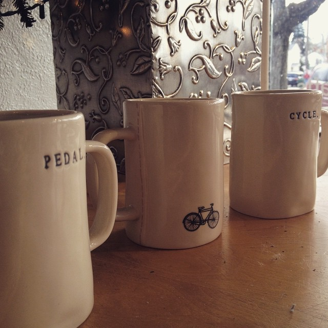 Came back home to my small town and was greeted by bike themed mugs in the local art gallery; seems like bike fever extends farther than our gear loving campus! Enjoy your break, and go chase down an adventure! #bike #trek #coffeemug #pedal #cycle #dickinsoncollege