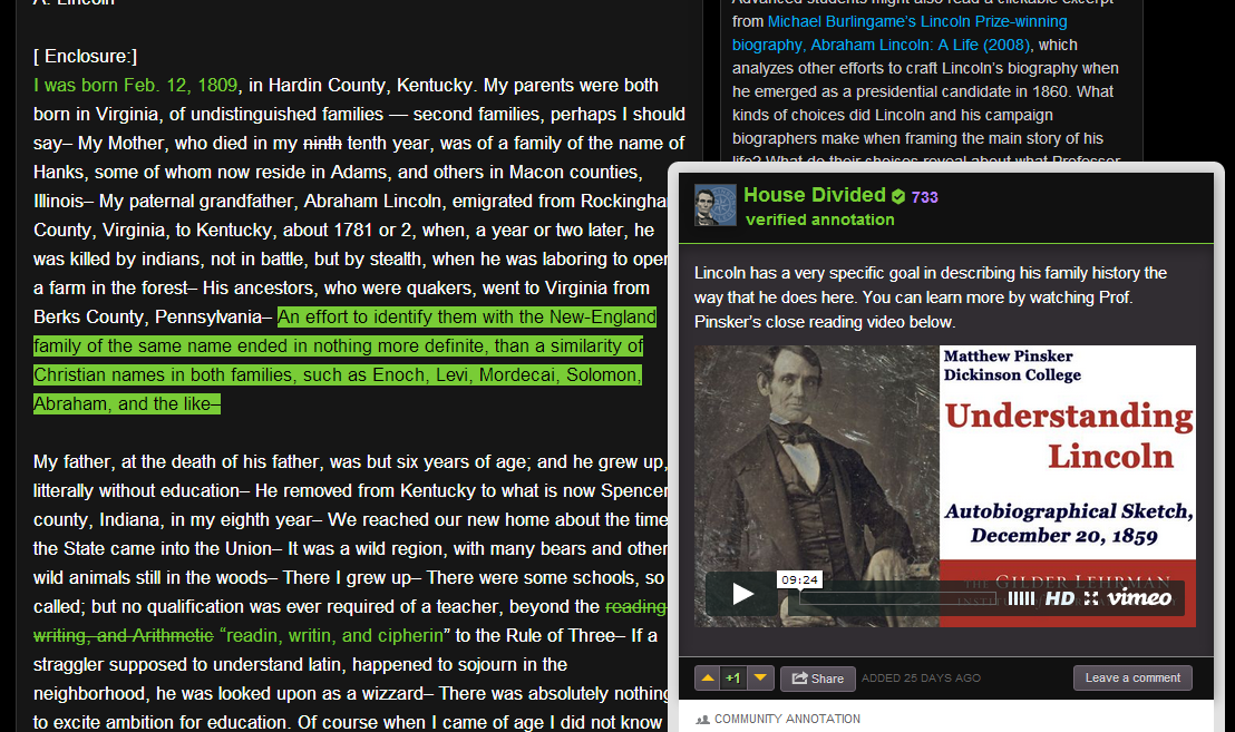 Clicking on different colored text brings up the annotation, in this case one with an embedded video player.