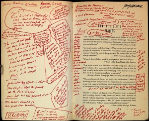David Foster Wallace's annotated copy of Don Delillo's Players, from the Harry Ransom Research Center in Austin, TX. http://bit.ly/1ef5ziL
