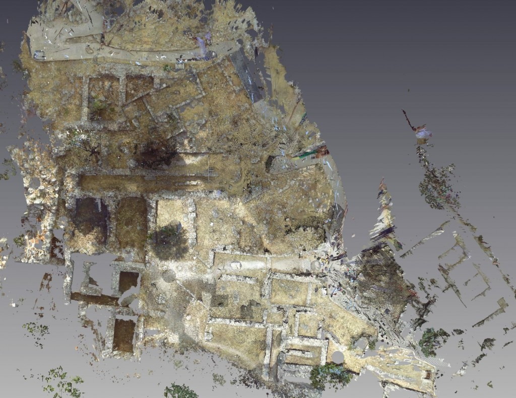 The site scanner shoots millions of georeferenced points from many different angles and locations to compose a highly accurate (5mm) georectified ground plan