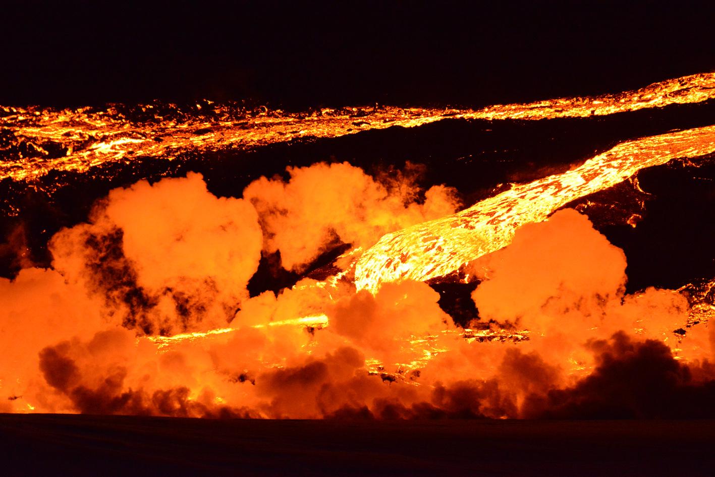 Lava channel in East Flow Field, Tolbachik eruption, April 2013