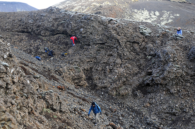 DC students measuring thickness and plunges of pillow lava, Reykjanes Peninsula, Iceland