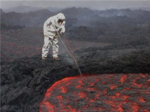Taking the temperature of Tolbachik 2013 lava flow