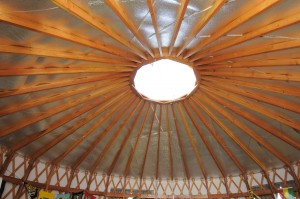 A view of the ceiling of a yurt on the Dickinson Farm.