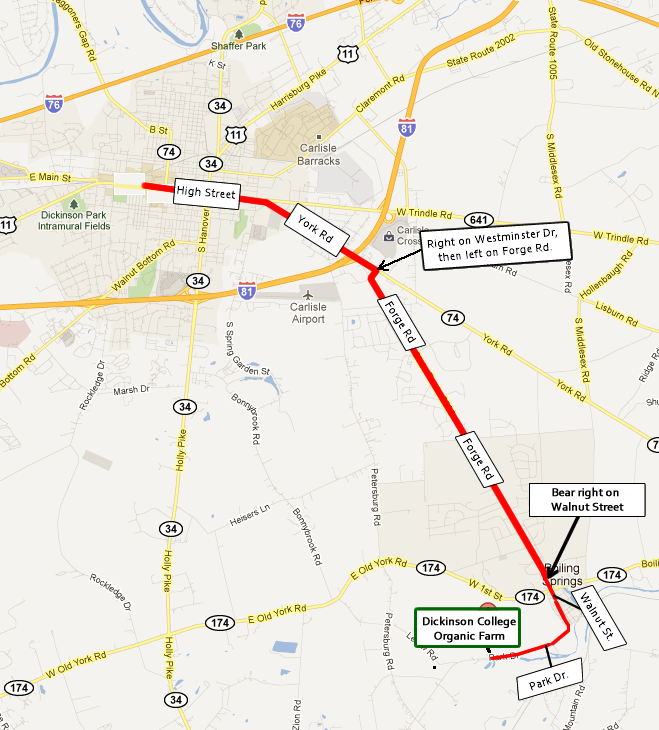 Directions to Dickinson College Farm from Dickinson's main campus.