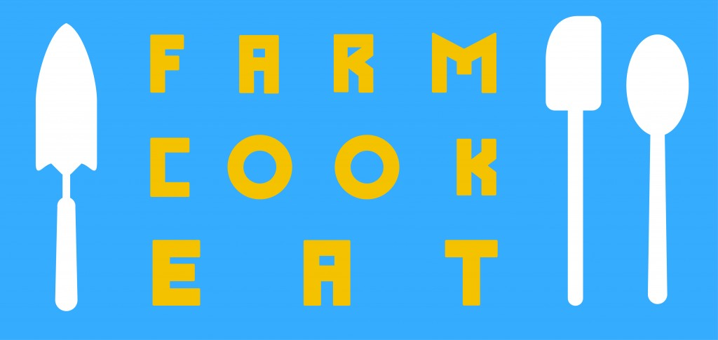 Farm Cook Eat logo blue and yellow