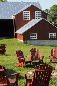 Dickinson College Farm, Lower Barn and red lawn chairs.
