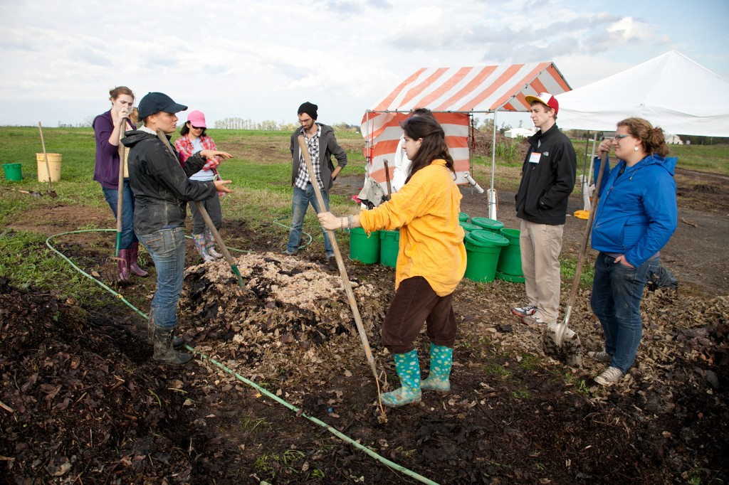Claire Fox gives a composting workshop at the Seeding the Future Conference, Oct. 14-15, 2011